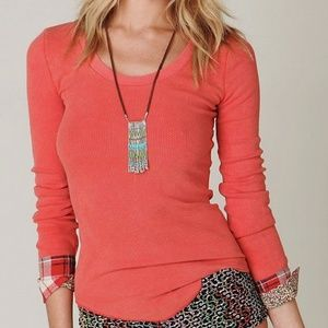 Free People Lou Flannel Cuff Thermal L Orange